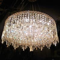 "Glam Art Deco Style Collection 12 Light Chrome Finish Crystal Round Flush Mount Chandelier 28"" D  x 10.5"" H Large"