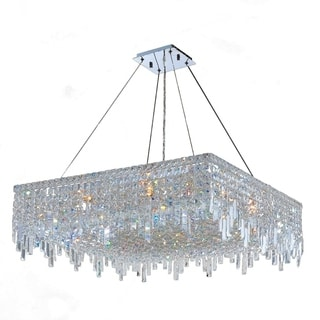 """Glam Art Deco Style Collection 12 Light Chrome Finish Crystal Square Flush Mount Chandelier 32"""" L x 32"""" W x 10.5"""" H Large"""