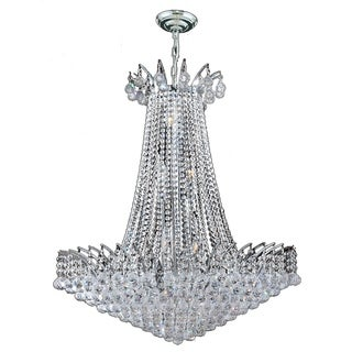 French Empire Collection 16 Light Chrome Finish Crystal Chandelier 29-inch x 32-inch Round Large