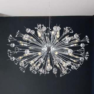 Lead crystal ceiling lights for less overstock sputnik collection 24 light chrome finish crystal chandelier 36 inch x 26 inch large aloadofball Image collections
