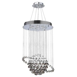 "Modern Euro Planet Collection 8 Light Chrome Finish Crystal Galaxy Floush Mount Chandelier 22"" D x 36"" H Medium"