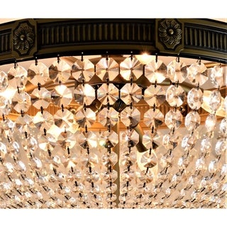 French Empire Crystal Basket Collection 9 Light Antique Bronze Finish Crystal Semi Flush Mount Ceiling Light 24-inch Round Large