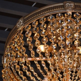French Empire Crystal Basket 4 Light French Gold Finish Golden Teak Crystal Semi Flush Mount Ceiling Light 16-inch Round Medium