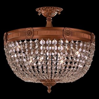 French Empire Crystal Basket 6 Light French Gold Finish and Clear Crystal Semi Flush Mount Ceiling Light 20-inch Round Large