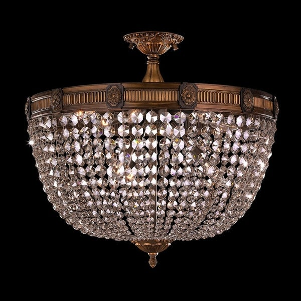 Shop French Empire Crystal Basket 4 Light Antique Bronze Finish and Clear  Crystal Semi Flush Mount Ceiling Light 24-inch Extra Large - On Sale - Free  ... a9a3affc5c28
