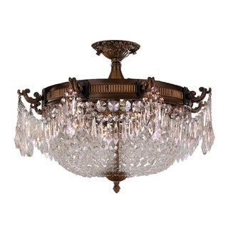 French Empire Crystal Basket 4 Light Antique Bronze Finish and Clear Crystal Semi Flush Mount Ceiling Light 24-inch Extra Large
