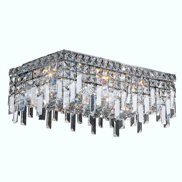 Shop Glam Art Deco Style 4 Light Chrome Finish Crystal Flush Mount ...