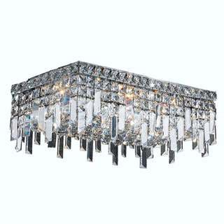 Glam Art Deco Style 4 Light Chrome Finish Crystal Flush Mount Ceiling Light 20-inch Length x 10-inch Wide Rectangle Large