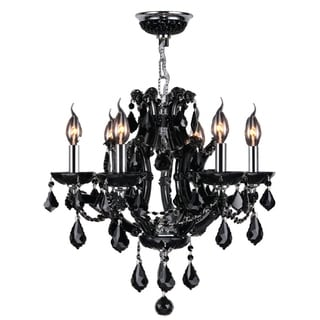 Maria Theresa Imperial Collection 6 Light Chrome Finish and Black Crystal Chandelier 20-inch x 19-inch Medium