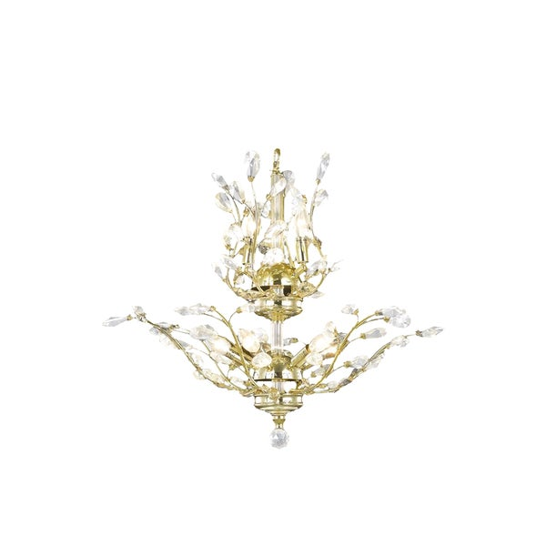 Fl Orchid Collection 8 Light Gold Finish Crystal Flower Chandelier 21 D X 22
