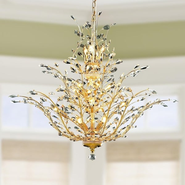 Fl Orchid Collection 18 Light Gold Finish Crystal Flower Chandelier 41 D X 34