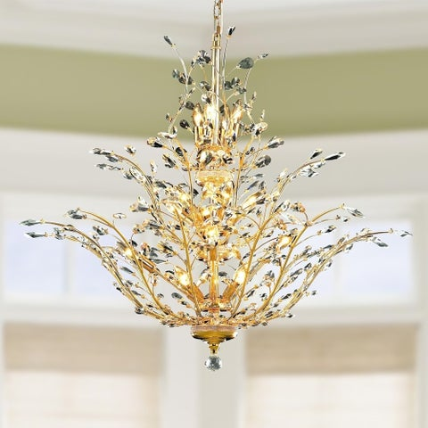 """Floral Orchid Collection 18 Light Gold Finish Crystal Flower Chandelier 41"""" D x 34"""" H Three 3 Tier Large"""