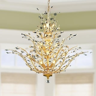 "Floral Orchid Collection 18 Light Gold Finish Crystal Flower Chandelier 41"" D x 34"" H Three 3 Tier Large"