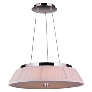 "Euro Style LED Collection 9 Light LED Chrome Finish with White String Drum Shade Pendant 20"" D x 4"" H Medium"