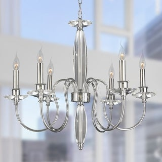 "Metro Candelabra Collection 6 Light Chrome Finish Crystal Candle Chandelier 25"" D x 23"" H Large"