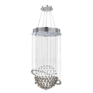 "Modern Euro Planet Collection 7 Light Chrome Finish Crystal Galaxy Flush Mount Chandelier 18"" D x 32"" H Medium"