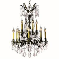 "French Palace Collection 12 Light Antique Bronze Finish Crystal Chandelier 24"" D x 36"" H Two 2 Tier Large"