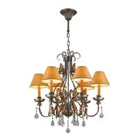 "Florence Italian Style Collection 6 Light Antique Bronze Finish with Orange Gold Candle and Shade Chandelier 28"" D x 28"" H Large"
