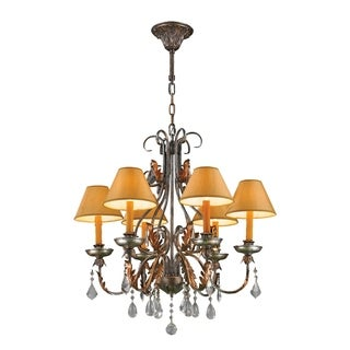 """Florence Italian Style Collection 6 Light Antique Bronze Finish with Orange Gold Candle and Shade Chandelier 28"""" D x 28"""" H Large"""