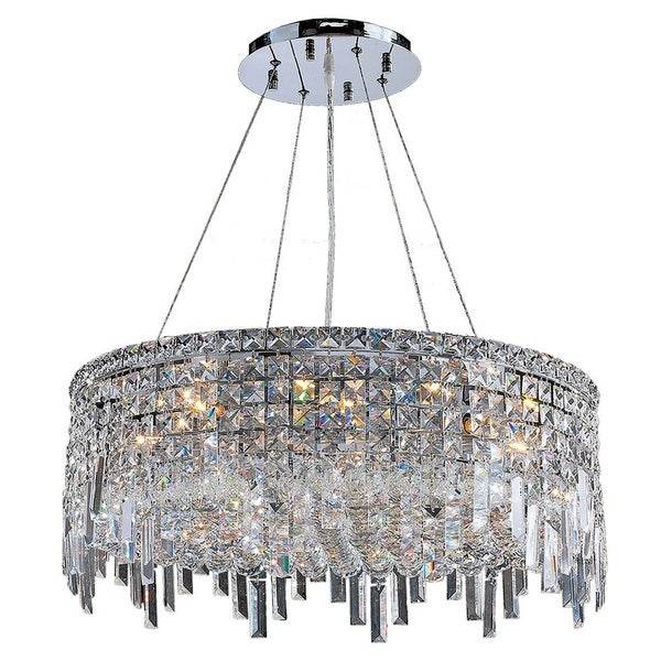 "Glam Art Deco Style Collection 12 Light Chrome Finish Crystal Round Flush Mount Chandelier 24"" D x 10.5"" H Large"