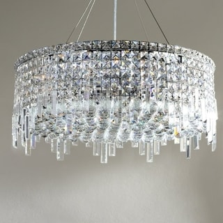 """Glam Art Deco Style Collection 12 Light Chrome Finish Crystal Round Flush Mount Chandelier 24"""" D x 10.5"""" H Large"""