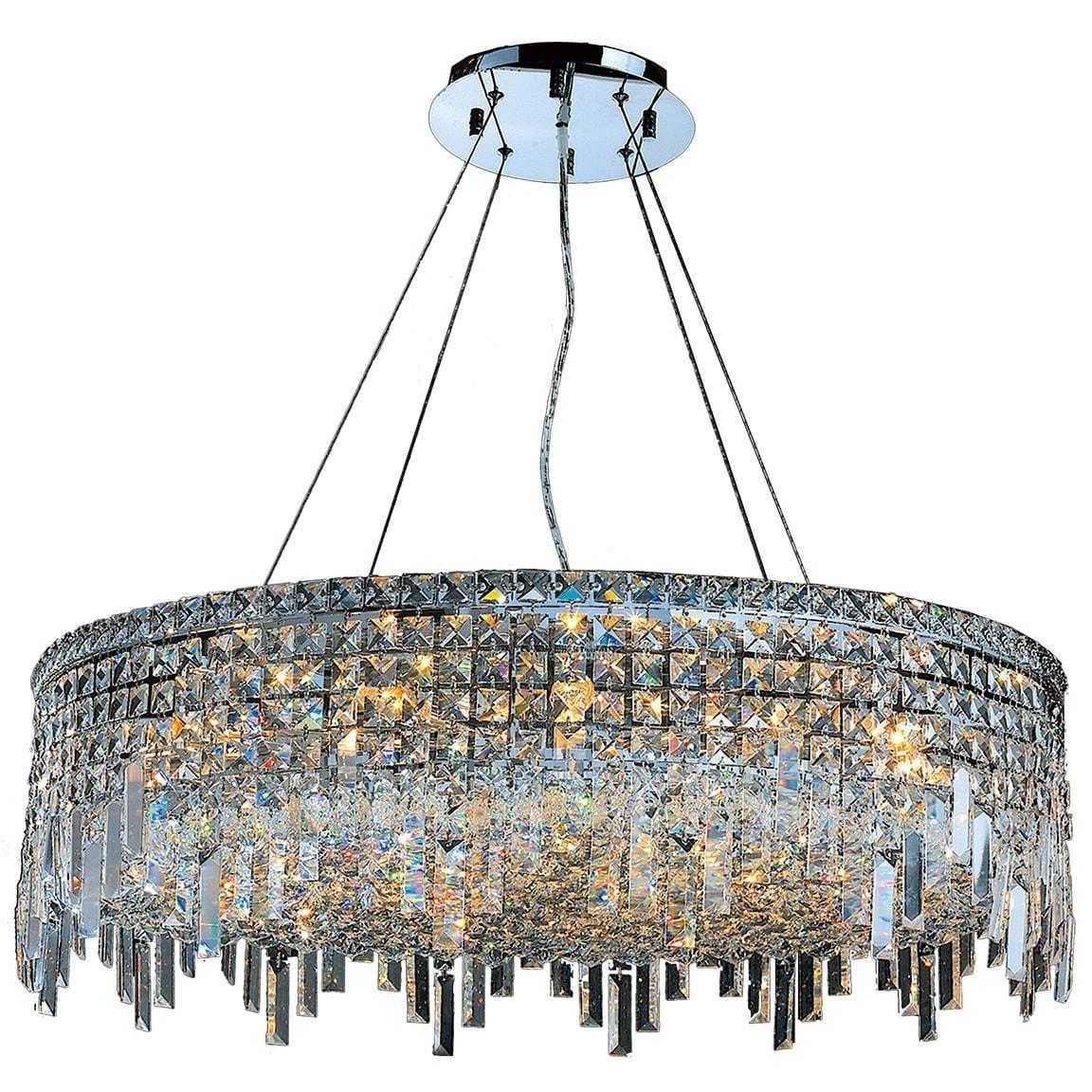 Glam Art Deco Style 18 Light Chrome Finish Crystal Round Flush Mount Chandelier Large Chandelier On Sale Overstock 13061864