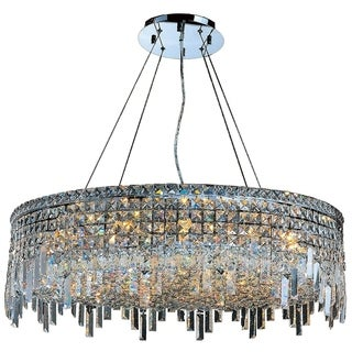 "Glam Art Deco Style Collection 18 Light Chrome Finish Crystal Round Flush Mount Chandelier 32"" D x 10.5"" H Large"