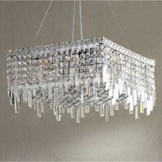 "Glam Art Deco Style Collection 12 Light Chrome Finish Crystal Square Flush Mount Chandelier 20"" L x 20"" W x 10.5"" H Medium"