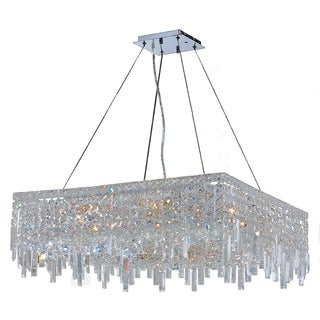 "Glam Art Deco Style Collection 12 Light Chrome Finish Crystal Square Flush Mount Chandelier 28"" L x 28"" W x 10.5"" H Large"