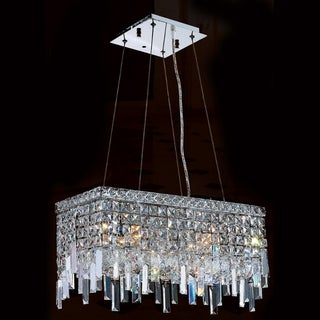 "Glam Art Deco Style Collection 4 Light Chrome Finish Crystal Rectangle Flush Mount Chandelier 20"" L x 10"" W x 10.5"" H Medium"