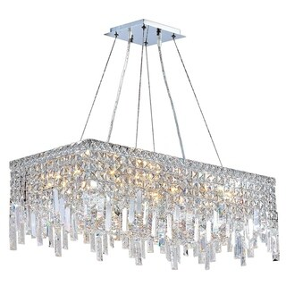 "Glam Art Deco Style Collection 16 Light Chrome Finish Crystal Rectangle Flush Mount Chandelier 28"" L x 14"" W x 10.5"" H Large"