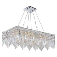 """Glam Art Deco Style Collection 16 Light Chrome Finish Crystal Rectangle Flush Mount Chandelier 32"""" L x 16"""" W x 10.5"""" H Large"""
