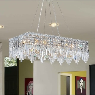"""Glam Art Deco Style Collection 16 Light Chrome Finish Crystal Rectangle Flush Mount Chandelier 36"""" L x 18"""" W x 10.5"""" H Large"""