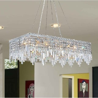"Glam Art Deco Collection 16 Light Chrome Finish Crystal Flush Mount Chandelier 36"" L x 18"" W x 10.5"" H Large"