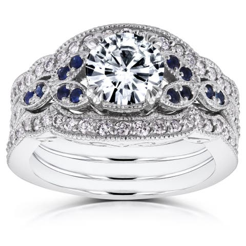 Annello by Kobelli 14k White Gold Forever One Moissanite Blue Sapphire and 1/2ct TDW Diamond Vintage Floral 3-P