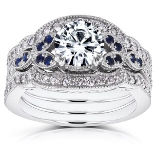Annello by Kobelli 14k White Gold Forever One Moissanite Blue Sapphire and 1/2ct TDW Diamond Vintage Floral 3-P (More options available)