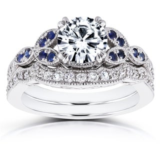 Annello 14k White Gold Forever One Moissanite Blue Sapphire and 1/4ct TDW Diamond Vintage Floral Bridal Set (G-H, I1-I2)