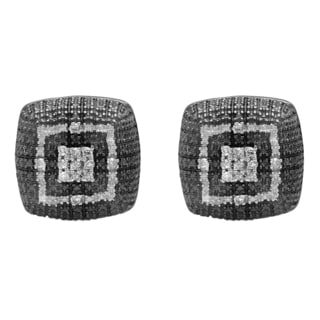 Elora Black over Silver 1/10ct TDW White Diamond Square Stud Earrings (I-J, I2-I3)