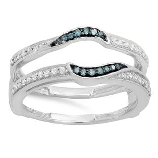 Elora 10k Gold 1/3ct TDW Blue and White Diamond Anniversary Wedding Band Enhancer Double Guard Ring (I-J,