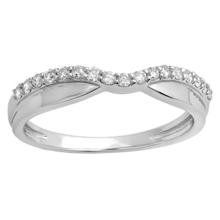 Elora 14k Gold 1/4ct TDW Round-cut White Diamond Anniversary Wedding Stackable Contour Guard Band (H-I, I1