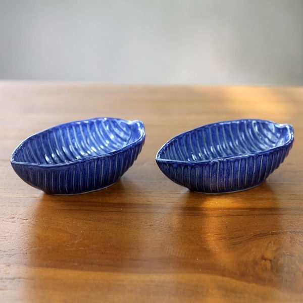 Set of 2 Handmade Ceramic 'Blue Banana Leaf' Bowls (Indonesia)