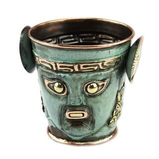 Handmade Bronze Copper 'Sun God Ceremony' Vase (Peru)