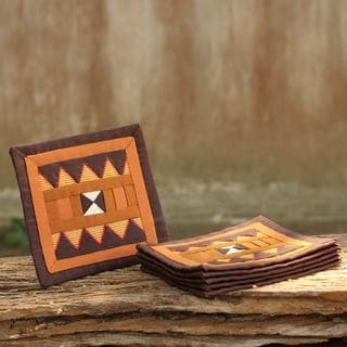 Set of 6 Handcrafted Lahu Cotton 'Rejoicing Earth' Coasters (Thailand)