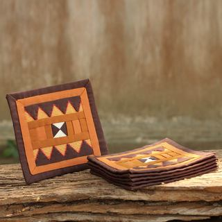 Handmade Set of 6 Lahu Cotton 'Rejoicing Earth' Coasters (Thailand)