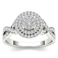 De Couer 10k White Gold 2/5ct TDW Diamond Halo Engagement Ring - White H-I