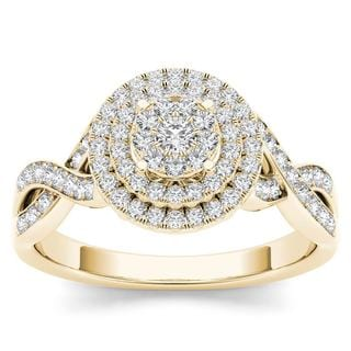 De Couer 10k Yellow Gold 2/5ct TDW Diamond Halo Engagement Ring
