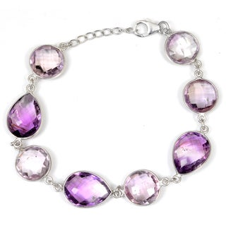 Orchid Jewelry 925 Sterling Silver 47 Carat Amethyst Bracelet
