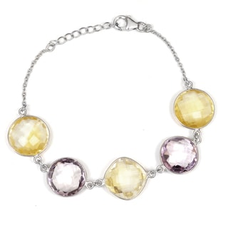 Orchid Jewelry 925 Sterling Silver 44 Carat Citrine and Amethyst Bracelet