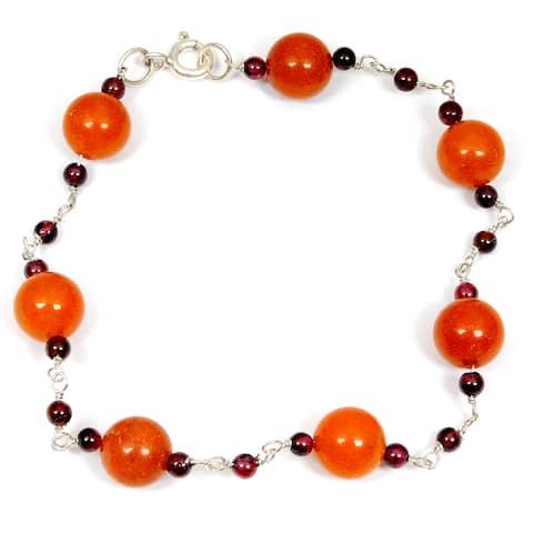 Carnelian, Crystal Quartz Sterling Silver Ball Beaded Bracelet by Orchid Jewelry