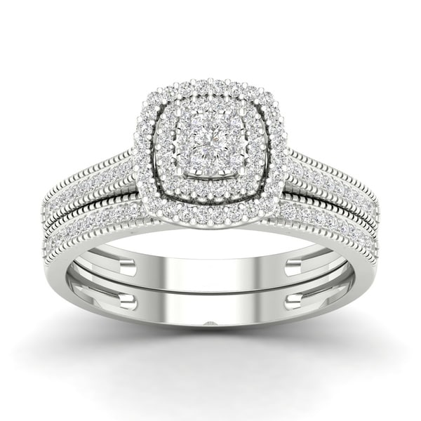De Couer IGI Certified 10k Gold 1/3ct TDW Diamond Cluster Halo Bridal Set